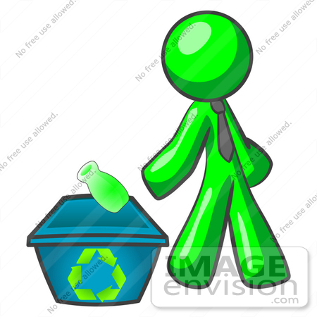 #34175 Clip Art Graphic of a Green Guy Character Wearing A Business Tie And Tossing A Bottle Into A Recycle Bin by Jester Arts