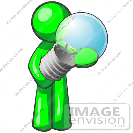 #34181 Clip Art Graphic of a Green Guy Character Standing And Holding A Glass Electric Light Bulb by Jester Arts