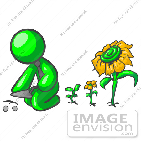 #34195 Clip Art Graphic of a Green Guy Character Wearing A Business Tie And Kneeling To Plant Seeds In A Sunflower Garden With Flowers In Different Stages Of Growth by Jester Arts