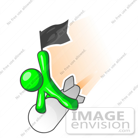 #34199 Clip Art Graphic of a Green Guy Character Holding Up A Black Flag And Shooting Past On A Rocket Over An Orange Background by Jester Arts