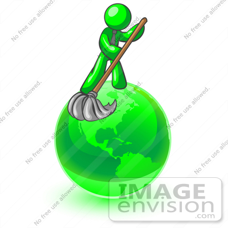 #34201 Clip Art Graphic of a Green Guy Character Wearing A Business Tie And Mopping Up Pollution On The Green Earth by Jester Arts