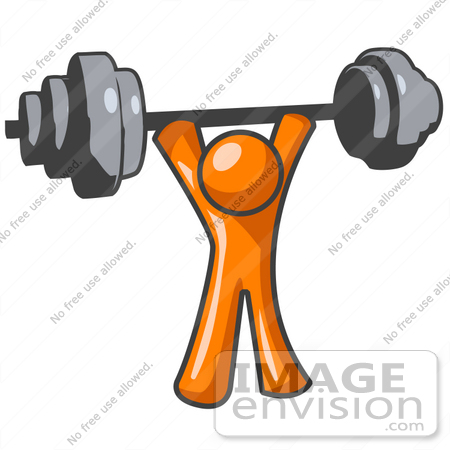 clip art graphic of an orange man character holding up a heavy rh imageenvision com orange man clipart orange man clipart free download