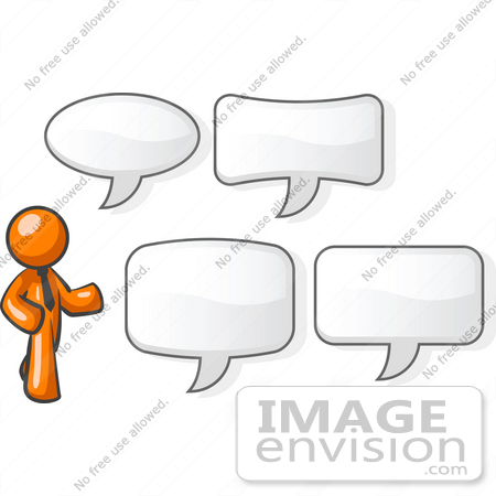 #34210 Clip Art Graphic of an Orange Man Character In A Business Tie, Standing By Different Shaped Word Balloons by Jester Arts