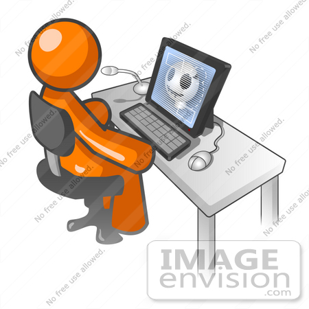 #34211 Clip Art Graphic of an Orange Man Character Watching A Video On Anatomy, Showing A Skull, At A Computer Desk by Jester Arts