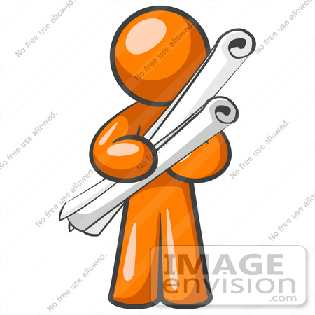 #34214 Clip Art Graphic of an Orange Man Character Holding Two Long Scrolled Blueprints Or Design Plans by Jester Arts