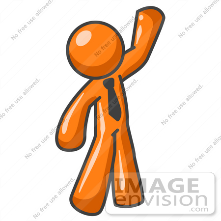 #34216 Clip Art Graphic of an Orange Man Character Wearing A Business Tie And Waving To Friends by Jester Arts