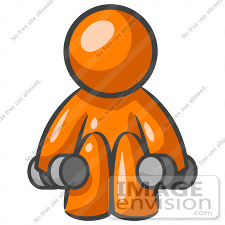 #34221 Clip Art Graphic of an Orange Man Character Doing Squats And Lifting Weights At The Fitness Gym by Jester Arts