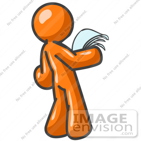 #34230 Clip Art Graphic Of An Orange Guy Character Standing In Shock And  Reading A  Resume Clip Art