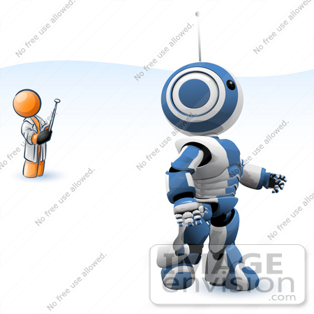 #34236 Clip Art Graphic of an Orange Guy Character Testing Out His New Invention, A Blue And White Robot, Controlled By A Remote by Jester Arts