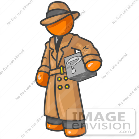 #34257 Clip Art Graphic of an Orange Guy Character In A Trench Coat Carrying A Discovery Box by Jester Arts