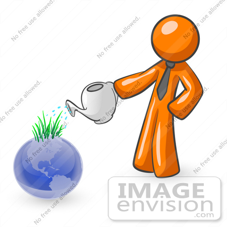 #34267 Clip Art Graphic of an Orange Guy Character Using A Watering Can To Feed Sprouting Grass On Top Of A Blue Globe by Jester Arts