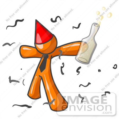 #34271 Clip Art Graphic of an Orange Guy Character In A Red Party Hat, Holding A Bottle Of Champagne And Partying In Confetti At A New Year's Party by Jester Arts