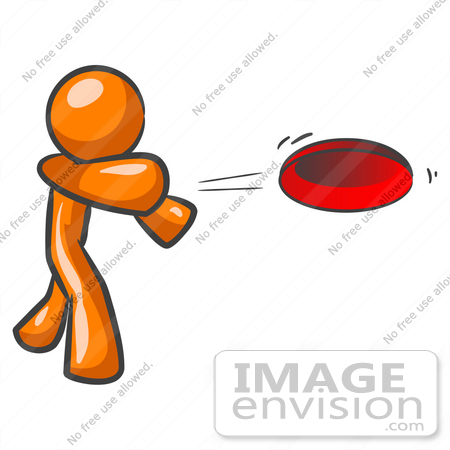 clip art graphic of an orange guy character throwing a red frisbee rh imageenvision com ultimate frisbee clipart throwing frisbee clipart