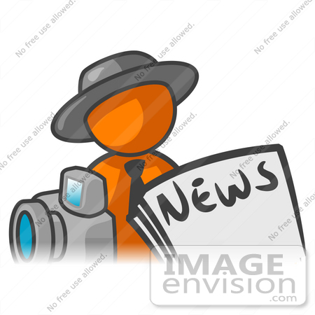 #34287 Clip Art Graphic of an Orange Guy Character News Reporter With A Camera And Newspaper by Jester Arts