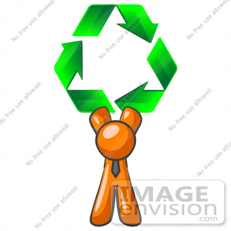 #34303 Clip Art Graphic of an Orange Guy Character In A Business Tie, Holding Green Recycle Arrows Above His Head by Jester Arts