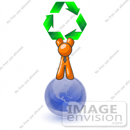 #34310 Clip Art Graphic of an Orange Guy Character Holding Green Recycle Arrows Above His Head, Standing On Top Of The Globe by Jester Arts