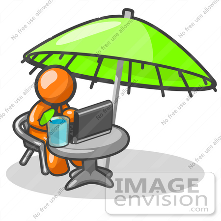 #34327 Clip Art Graphic of an Orange Guy Character Working At A Patio Table On A Laptop by Jester Arts