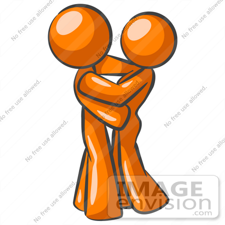 clip art graphic of an orange guy character hugging his sweetheart rh imageenvision com sisters hugging clipart clipart hugging arms