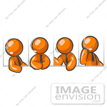 #34337 Clip Art Graphic of an Orange Guy Character In Four Different Poses, Wearing A Business Tie And Talking On A Headset by Jester Arts