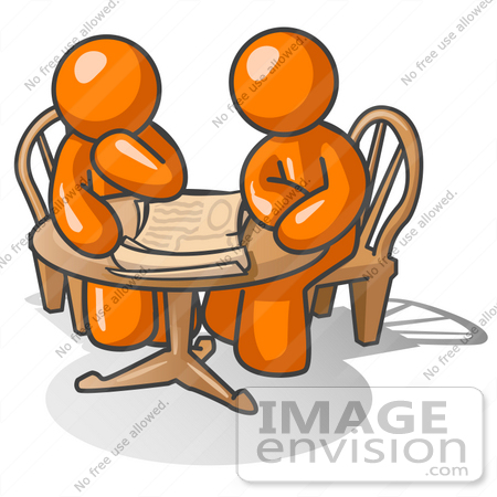 #34339 Clip Art Graphic of an Orange Guy Character And Friend Sitting At A Table And Looking At Papers by Jester Arts