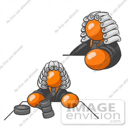 #34345 Clip Art Graphic of an Orange Guy Character Judge Wearing Wig And Shown In Two Poses, One Scene Where He Is Whacking The Gavel On The Desk by Jester Arts