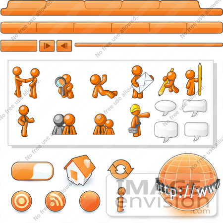#34351 Clip Art Graphic of an Orange Guy Character Web Designer Kit With Tabs, Icons And People by Jester Arts