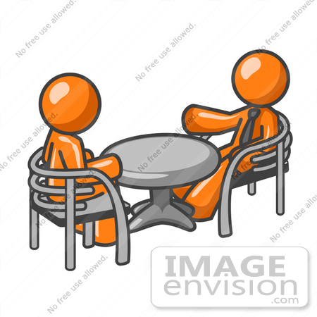 #34360 Clip Art Graphic of an Orange Guy Character Having A Casual Discussion With A Friend At A Table by Jester Arts