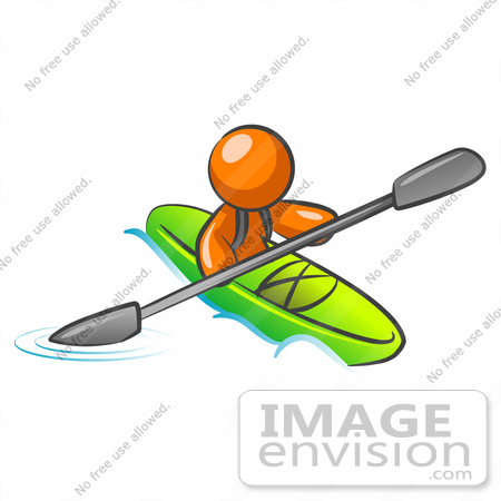 #34379 Clip Art Graphic of an Orange Guy Character Kayaking Down A River In A Green Boat by Jester Arts