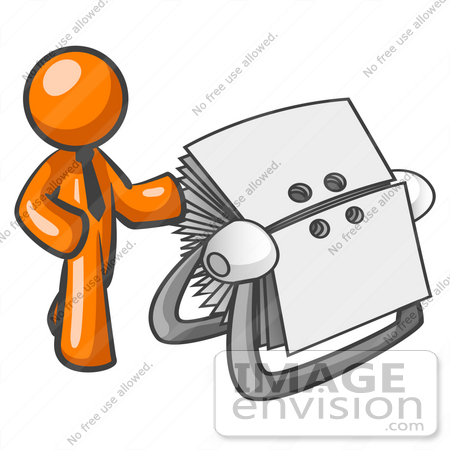 clip art graphic of an orange guy character wearing a business tie rh imageenvision com Business Card Clip Business Card Design Templates
