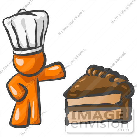 #34429 Clip Art Graphic of an Orange Guy Character In A Chef Hat, Presenting A Slice Of Chocolate Cake by Jester Arts