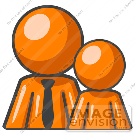 #34431 Clip Art Graphic of an Orange Guy Character In A Business Tie, Standing Behind His Child by Jester Arts