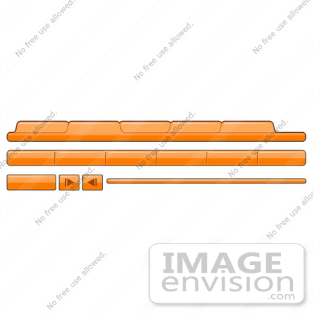 #34454 Clip Art Graphic of Orange Web Design Tabs And Elements by Jester Arts