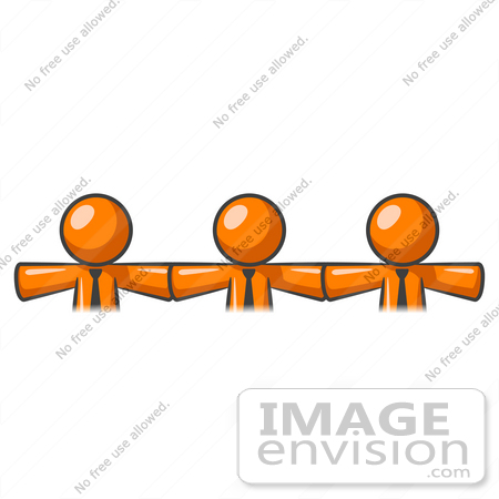 #34459 Clip Art Graphic of Orange Guy Characters Linking Together And Holding Hands by Jester Arts