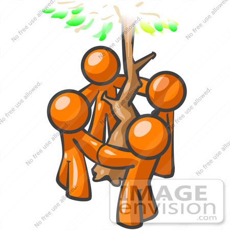 #34470 Clip Art Graphic of Orange Guy Characters Holding Hands And Circling A Tree by Jester Arts