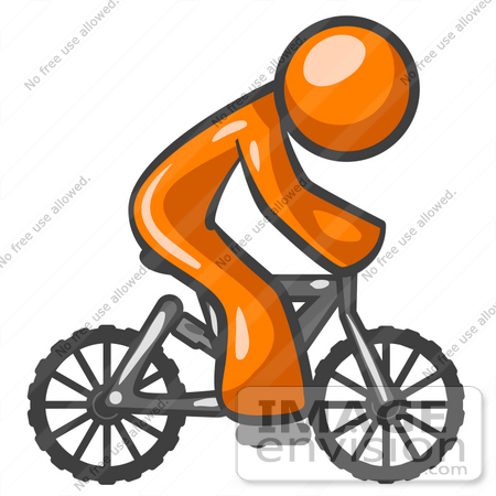 #34471 Clip Art Graphic of an Orange Guy Character Riding A Mountain Bike by Jester Arts