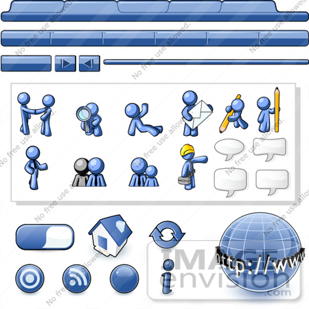 #34472 Clip Art Graphic of a Blue Guy Character Web Designer Kit With Tabs, Icons And People by Jester Arts
