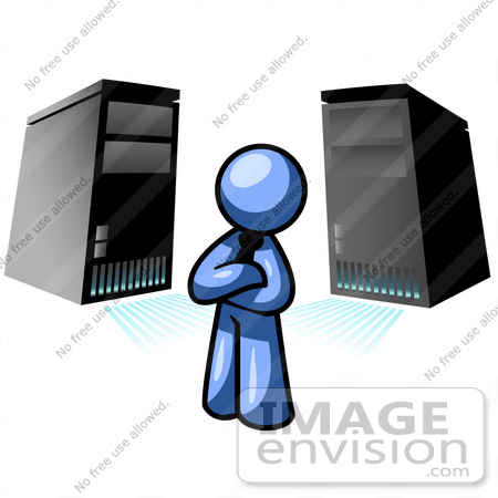 Clip art graphic of a blue guy character standing in front of 34484 clip art graphic of a blue guy character standing in front of server towers ccuart Choice Image
