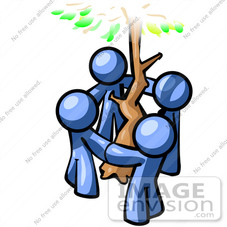 #34486 Clip Art Graphic of Blue Guy Characters Holding Hands Around A Tree by Jester Arts