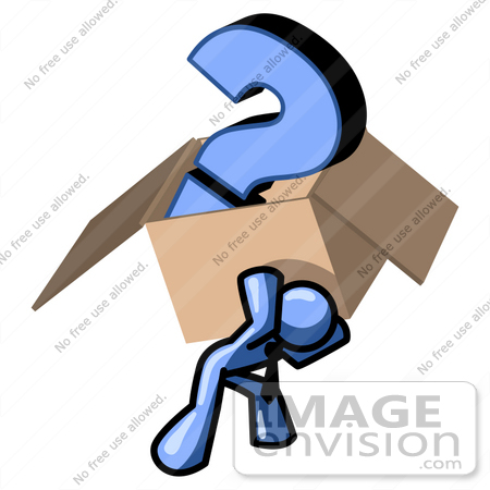 #34489 Clip Art Graphic of a Blue Guy Character Carrying A Question Mark In A Heavy Box by Jester Arts
