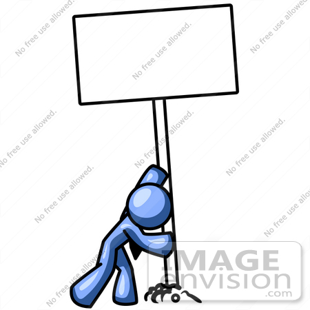 #34510 Clip Art Graphic of a Blue Guy Character Putting A Blank Sign In The Ground by Jester Arts
