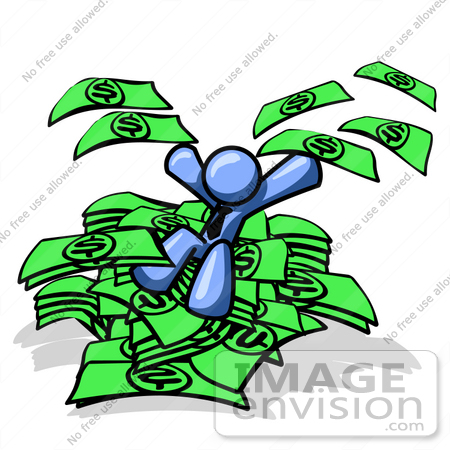 #34540 Clip Art Graphic of a Blue Guy Character On A Pile Of Cash, Throwing Money by Jester Arts