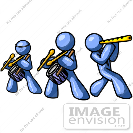 Clip Art Graphic of Blue Guy Characters Playing Drums And Flutes ...