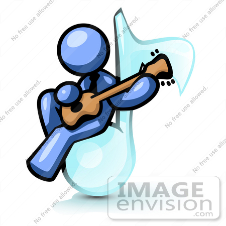 #34563 Clip Art Graphic of a Blue Guy Character Playing A Guitar On A Music