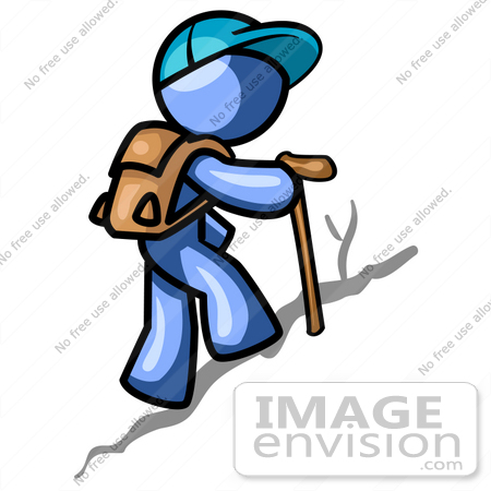 clip art graphic of a blue guy character hiking 34570 by jester rh imageenvision com animated hiker clipart hitchhiker clipart
