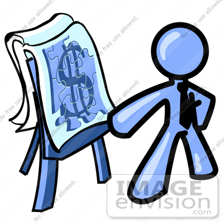 clip art graphic of a blue guy character giving a financial rh imageenvision com financial clip art free finance clip art images
