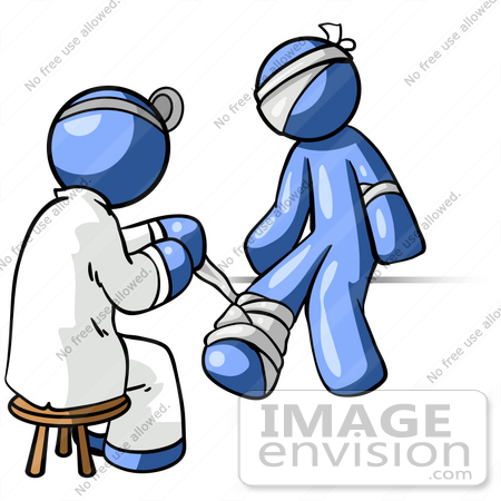 #34592 Clip Art Graphic of a Blue Guy Character Getting Bandaged By A Doctor by Jester Arts