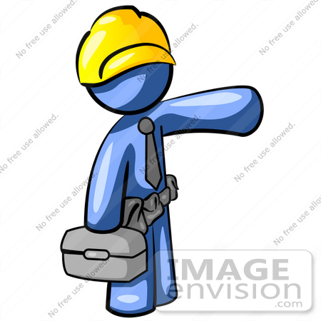 34604 Clip Art Graphic Of A Blue Guy Character Construction Worker
