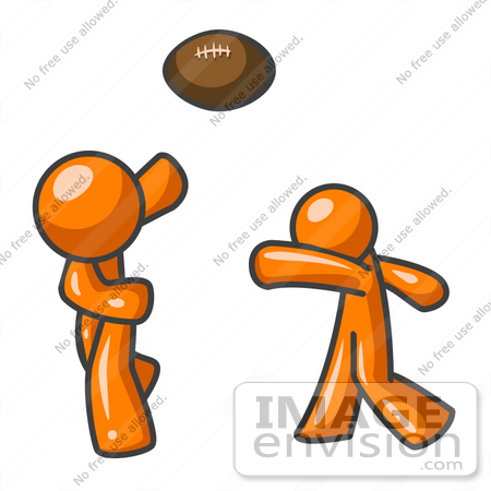 #35468 Clip Art Graphic of an Orange Guy Character Tossing A Football To His Partner by Jester Arts