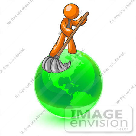 #35488 Clip Art Graphic of an Orange Guy Character Mopping Up A Mess On A Green Globe by Jester Arts