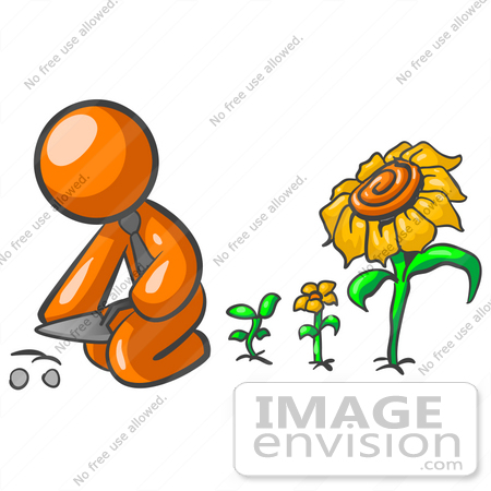 #35491 Clip Art Graphic of an Orange Guy Character Planting Seeds In A Sunflower Garden by Jester Arts